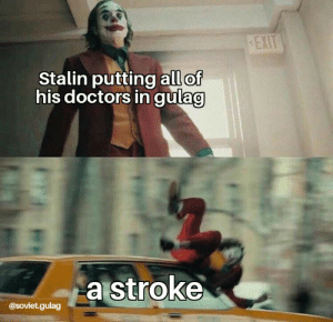 Not so glorious leader anymore.: EXIT  Stalin putting all of  his doctors in gulag  a stroke  @Soviet.gulag Not so glorious leader anymore.