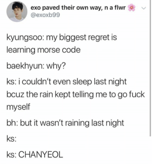 EXO memes: exo paved their own way, n a flwr  @exoxb99  kyungsoo: my biggest regret is  learning morse code  baekhyun: why?  ks: i couldn't even sleep last night  bcuz the rain kept telling me to go fuck  myself  bh: but it wasn't raining last night  ks:  ks: CHANYEOL EXO memes