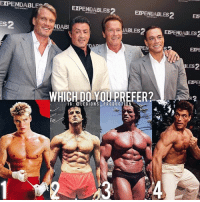 🔥😳🤔WHICH DO YOU PREFER? Founder 👉: @king_khieu. The legends. 1? 2? 3? or 4? Why-why not? Rank in order. Vote 👇 below! Thoughts? 🤔 What do you guys think? COMMENT BELOW! Athletes. 1 - @dolphlundgren. 2 - @officialslystallone. 3 - @schwarzenegger. 4 - @jcvd. TAG SOMEONE who needs to lift! _________________ Looking for unique gym clothes? Use our 10% discount code: LEGIONS10🔑 on Ape Athletics 🦍 fitness apparel! The link is in our 👆 bio! _________________ Principal 🔥 account: @fitness_legions. Facebook ✅ page: Legions Production. @legions_production🏆🏆🏆.: EXPENDABLE  EXPENDABLES  EXPENDABLES2 EX  DAB  ABLES2EPEDE  EXP  LES  2  EXPE  WHICH DO YOU PREFER?  IG:OLEGIONS PRODUCTI0 🔥😳🤔WHICH DO YOU PREFER? Founder 👉: @king_khieu. The legends. 1? 2? 3? or 4? Why-why not? Rank in order. Vote 👇 below! Thoughts? 🤔 What do you guys think? COMMENT BELOW! Athletes. 1 - @dolphlundgren. 2 - @officialslystallone. 3 - @schwarzenegger. 4 - @jcvd. TAG SOMEONE who needs to lift! _________________ Looking for unique gym clothes? Use our 10% discount code: LEGIONS10🔑 on Ape Athletics 🦍 fitness apparel! The link is in our 👆 bio! _________________ Principal 🔥 account: @fitness_legions. Facebook ✅ page: Legions Production. @legions_production🏆🏆🏆.