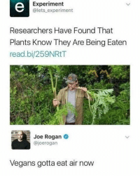 Joe Rogan: Experiment  @lets experiment  Researchers Have Found That  Plants Know They Are Being Eaten  read.bi/259NRtT  Joe Rogan *  @joerogarn  Vegans gotta eat air now