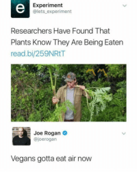 funnyshitaight: PLaNtS hAvE fEeLiNgS tOo  : Experiment  @lets experiment  Researchers Have Found That  Plants Know They Are Being Eaten  read.bi/259NRtT  Joe Rogan  @joerogan  Vegans gotta eat air now funnyshitaight: PLaNtS hAvE fEeLiNgS tOo