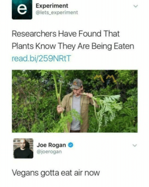 me irl: Experiment  @lets experiment  Researchers Have Found That  Plants Know They Are Being Eaten  read.bi/259NRtT  Joe Rogan  @joerogarn  Vegans gotta eat air now me irl