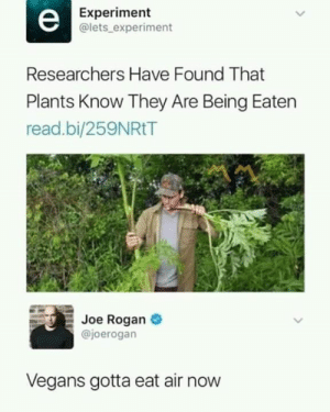 Joe Rogan: Experiment  @lets experiment  Researchers Have Found That  Plants Know They Are Being Eaten  read.bi/259NRtT  Joe Rogan  @joerogan  Vegans gotta eat air now