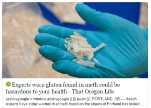 """Life, Streets, and Tumblr: Experts warn gluten found in meth could be  hazardous to your health - That Oregon Life  (adsbygoogle window.adsbygoogle ll D).push() PORTLAND, OR Health  experts have today warned that meth found on the streets of Portland has tested. cutiecidal:  c-bassmeow:  asgardreid:  gotitforcheap:  *gentrification voice* uh is this meth organic?  """"Is crystal meth vegan?""""   If i find out this meth has GMO's I am taking you to court tom I am not kidding !  yeah this meth isn't dangerous oh no thERES GLUTEN NO I CAN'T BUY THIS !  Signal Boost this"""
