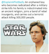 Star Wars, Insurgent, and Insurgency: @ExplainAPlotBadly An orphaned boy  who becomes radicalized after a military  strike kills his family is indoctrinated into  an ancient religion, joins a band of rebel  insurgents, and carries out a terrorist  attack killing 300,000 people.  STAR  WARAS Check out Explain A Plot Badly