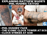 Clock, Memes, and Tattoos: EXPLAINING MATTHEW WADE'S  PHIL HUGHES TATTOO  BL  PHIL HUGHES' FACE  THE ICONIC CLOCK TOWER AT SCG  CLOCK STRIKES AT 4:08 Brilliant gesture from Matthew Wade.