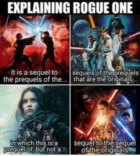 A presequel or a seprequel? Follow @9gag @9gagmobile 9gag rogueone starwars: EXPLAINING ROGUE ONE  It is a sequel to  sequels of the prequels  the prequels of the  that are the originals  in which this is a  sequel to the sequel  prequel but not a..  of the originals A presequel or a seprequel? Follow @9gag @9gagmobile 9gag rogueone starwars