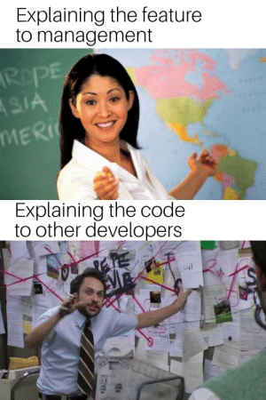 !!goodMeme ? upvote() : downvote();: Explaining the feature  to management  RePE  ASIA  MERI  Explaining the code  to other developers !!goodMeme ? upvote() : downvote();