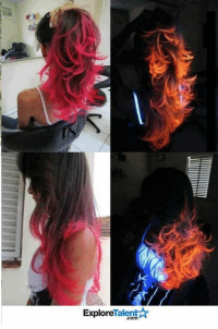 Memes, 🤖, and Light: ExploreTalent☆  com  S This girls hair looks like it's on fire under a black light! How hot is that? 🔥 (Literally.)