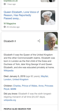 george vi: Express.co.uk  1 hour ago  Queen Elizabeth, Lone Voice of  Reason, Has Reportedly  Passed away  W Magazine  23 minutes ago  Elizabeth ll  Elizabeth Il was the Queen of the United Kingdom  and the other Commonwealth realms. Elizabeth was  born in London as the first child of the Duke and  Duchess of York, later King George VI and Queen  Elizabeth, and she was educated privately at home  Wikipedia  Died: January 5, 2019 (age 92 years), Mayfair,  London, United Kingdom  Children: Charles, Prince of Wales, Anne, Princess  Royal, MORE  Did you know: Elizabeth Il was the sixth-longest-  reigning monarch of all time (24,437 days)  wikipedia.org  PEOPLE ALSO SEARCH FOR