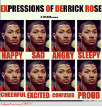 Who's ready to see D-Rose on the court again?: EXPRESSIONS OF DERRICK ROSE  HAPPY SAD ANGRY SLEEPY  CHEERFUL EXCITED CONFUSED PROUD  3874 Who's ready to see D-Rose on the court again?