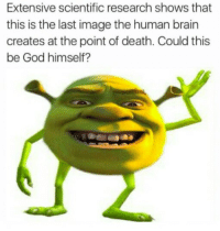 God, Brain, and Death: Extensive scientific research shows that  this is the last image the human brain  creates at the point of death. Could this  be God himself? <p>Okay Atheists explain this 👾👾👾👾👾👾👾👾👾</p>