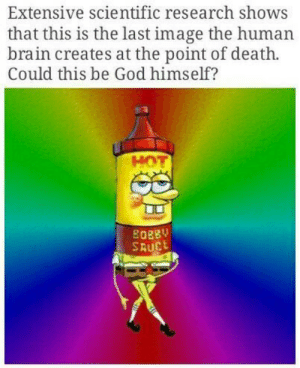 God, Tumblr, and Blog: Extensive scientific research shows  that this is the last image the human  brain creates at the point of death.  Could this be God himself?  HOT  8088V  SAUC hellawitchcunts:  browsedankmemes:Ok atheists, explain this  @c-bassmeow explain  Im no longer an atheist because of this. I cant explain it 😔
