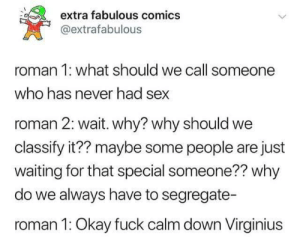 me irl: extra fabulous comics  @extrafabulous  roman 1: what should we call someone  who has never had sex  roman 2: wait. why? why should we  classify it?? maybe some people are just  waiting for that special someone?? why  do we always have to segregate-  roman 1: Okay fuck calm down Virginius me irl