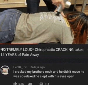 Dang: *EXTREMELY LOUD* Chiropractic CRACKING takes  14 YEARS of Pain Away  HentOi_UwU · 5 days ago  I cracked my brothers neck and he didn't move he  was so relaxed he slept with his eyes open  目 114  5.5K  DERHIP Dang