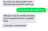Relationships, Saw, and Texting: Ey what you doing right now?  Something important came up  I'm at home why what's up  Wendy's has $1 buffalo chicken  ranch sandwiches for a limited  time  Just saw a commercial When they'll use ANY excuse to talk to you