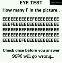 Test: EYE TEST  How many F in the picture..  Check once before you answer  95% will go wrong