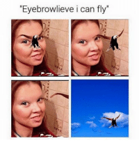 """Omg. Just when you think you've seen it all  http://nowaygirl.com/memes/funniest-eyebrow-memes-will-see-10-photos/  https://www.facebook.com/TruthAndHilarities/ #meme #funny #haha #awesome #memes: """"Eyebrowlieve i can fly Omg. Just when you think you've seen it all  http://nowaygirl.com/memes/funniest-eyebrow-memes-will-see-10-photos/  https://www.facebook.com/TruthAndHilarities/ #meme #funny #haha #awesome #memes"""