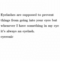 Eyelashes are supposed to prevent  things from going into your eyes but  whenever I have something in my eye  it's always an eyelash.  eyeronic I Hate Having Long Eyelashes Due To This Exact Issue 😑😑😂😂😂😂 pettypost pettyastheycome straightclownin hegotjokes jokesfordays itsjustjokespeople itsfunnytome funnyisfunny randomhumor