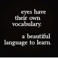 Beautiful, Language, and Own: eyes have  their own  vocabulary.  a beautiful  language to learn