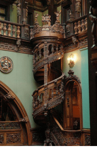 This spiral staircase is in Peles Castle, Sinaia, Romania - how much skill goes into making such a beautiful staircase?!: ez.  fuee This spiral staircase is in Peles Castle, Sinaia, Romania - how much skill goes into making such a beautiful staircase?!