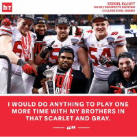 YES or NO: Should NFL prospects skip bowl games?: EZEKIEL ELLIOTT  b/r  ON NFL PROSPECTS SKIPPING  COLLEGE BOWL GAMES  CHAMPI  PIO  Allstate  SU  BIG  BIG  I WOULD DO ANYTHING TO PLAY ONE  MORE TIME WITH MY BROTHERS IN  THAT SCARLET AND GRAY. YES or NO: Should NFL prospects skip bowl games?