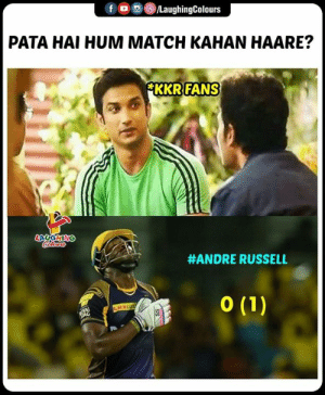 #AndreRussell #KKRvMI #IPL: f  回(8)/LaughingColours  。  PATA HAI HUM MATCH KAHAN HAARE?  FANS  KKR  #ANDRE RUSSELL #AndreRussell #KKRvMI #IPL