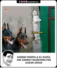 Indianpeoplefacebook, Karan Johar, and For: f 0 ,()/LaughingColours  LAUGHING  KARAN JOHAR  HARDIK PANDYA & KL RAHUL  ARE ANGRILY SEARCHING FOR  KARAN JOHAR