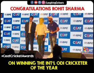 Congrats #Hitman aka #RohitSharma 🙂: f  (3)/LaughingColours  CONGRATULATIONS ROHIT SHARMA  のRPG  CEAT  RPG  CEAT  CEAT  份RPG  RPG  CEAT  RPG  CEAT  SRPG  CEAT  CEAT  CEAT  EAT  RPG  CEAT  GRPG  CEAT  のRPG  RPG  CEA  iR  AT  RPG  CEAT  RPG  IT  PG  EAT  AT  LAUGHING  #ceatCricketAwards  ON WINNING THE INT'L ODI CRICKETER  OF THE YEAR Congrats #Hitman aka #RohitSharma 🙂