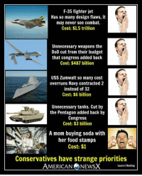 Conservatives have strange priorities [LK]: F-35 fighter jet  Has so many design flaws, it  may never see combat.  Cost: $1.5 trillion  Unnecessary weapons the  DoD cut from their budget  that congress added back  Cost: $487 billion  USS Zumwalt so many cost  overruns Navy contracted 2  instead of 32  Cost: $6 billion  Unnecessary tanks. Cut by  the Pentagon added back by  Congress  Cost: $3 billion  A mom buying soda with  her food stamps  Cost: $1  Conservatives have strange priorities  AMERICAN  NEWSX  Laura C Keeling Conservatives have strange priorities [LK]