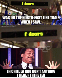 Bad, Chill, and Memes: f doors  WAS ON THE NORTH-EAST LINE TRAIN  WHEN I SAW.  Image credits to /uPIsSpecify  f doors  EH CHILL LA BRO DON'T ANYHOW  F HERE F THERE LEH Dont everything also f la... zuo mo ni men jiang bad de