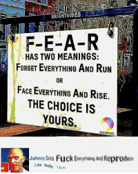 The Choice Is Yours: F-E-A-R  HAS TWO MEANINGS:  FORGET EVERYTHING AND Run  FACE EVERYTHING AND RisE.  THE CHOICE IS  YOURS  OR  BRGHTVIBES  Johnny Sins Fuck Everything And Reproduo  Like Reply 16n