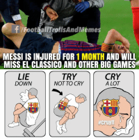 Memes, Games, and Messi: f /FootballTrollsAndMemes  MESSI IS INJURED FOR 1 MONTH AND WILL  MISS EL CLASSICO AND OTHER BIG GAMES  TRY  LIE  DOWN  CRY  A LOT  NOT TO CRY  で  #cruyff i RT @Footy_Obsession: El Clásico is nothing without messi and ronaldo 😭😭😭 https://t.co/W9katzukgP