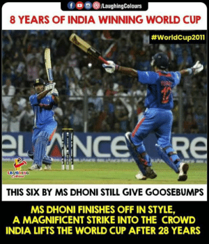 #MSDhoni #ICCWorldCup: f /LaughingColours  8 YEARS OF INDIA WINNING WORLD CUP  #WorldCup2011  章.  LAUGHING  THIS SIX BY MS DHONI STILL GIVE GOOSEBUMPS  MS DHONI FINISHES OFF IN STYLE,  A MAGNIFICENT STRIKE INTO THE CROWD  INDIA LIFTS THE WORLD CUP AFTER 28 YEARS #MSDhoni #ICCWorldCup