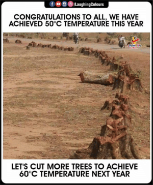 Congratulations, Trees, and Indianpeoplefacebook: f  LaughingColours  CONGRATULATIONS TO ALL, WE HAVE  ACHIEVED 50°C TEMPERATURE THIS YEAR  LACONINO  LET'S CUT MORE TREES TO ACHIEVE  60°C TEMPERATURE NEXT YEAR