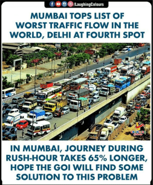 #Mumbai #Delhi: f  /LaughingColours  MUMBAI TOPS LIST OF  WORST TRAFFIC FLOW IN THE  WORLD, DELHI AT FOURTH SPOT  ONHO  IN MUMBAI, JOURNEY DURING  RUSH-HOUR TAKES 65% LONGER,  HOPE THE GOI WILL FIND SOME  SOLUTION TO THIS PROBLEM #Mumbai #Delhi