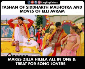 True boss!  #JabariyaJodi: f /LaughingColours  TASHAN OF SIDDHARTH MALHOTRA AND  MOVES OF ELLI AVRAM  HEM TOR HA  LAUGHING  Celeurs  MAKES ZILLA HILELA ALL IN ONE &  TREAT FOR SONG LOVERS True boss!  #JabariyaJodi