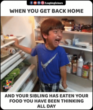 Food, Home, and Indianpeoplefacebook: f /LaughingColours  WHEN YOU GET BACK HOME  LAGHING  ocoloara  AND YOUR SIBLING HAS EATEN YOUR  FOOD YOU HAVE BEEN THINKING  ALL DAY Jab Aisa Kuch Hota Tha, Tab Aapka Reaction Kya Hote Tha..   #Sibling #FunnyMemes #FunnyJokes