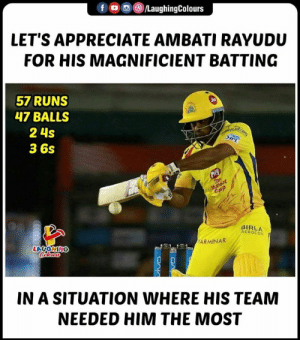 #AmbatiRayudu #CSKvRR #IPL: f OperLaughingColours  LET'S APPRECIATE AMBATI RAYUDU  FOR HIS MAGNIFICIENT BATTING  57 RUNS  47 BALLS  2 4s  3 6s  BIRLA  AEROCON  ARMINAR  LAUGH  IN A SITUATION WHERE HIS TEAM  NEEDED HIM THE MOST #AmbatiRayudu #CSKvRR #IPL