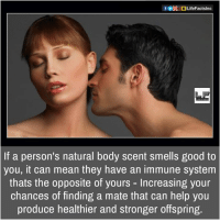 Memes, 🤖, and Offspring: f OpogLifeFactsInc  If a person's natural body scent smells good to  you, it can mean they have an immune system  thats the opposite of yours Increasing your  chances of finding a mate that can help you  produce healthier and stronger offspring.