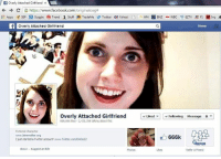 "Memes, 🤖, and Eds: f overly Attached Girlfriend x  C https://www.facebook.com/originaloaga  E Apps SEP B Goggle Trend  s Stuff pe TradeMe  3 Twitter Yahoo!  D ED wN BNz w wec R EzTV F1 Inq  A  Overly Attached Girlfriend  overly Attached Girlfriend  Liked L Following Message  666,666 likes 2,435,356 talking about this  Fictional Character  www.laina walker, org  666k  I just started aTwitter account! www.Twitter.com/OAG622  HEFER  About Suggest an Edit  Likes  Refer A Friend I was hoping somebody would capture this momentous occasion. 666,666 likes! Thanks ""I'm a Kiwi"""