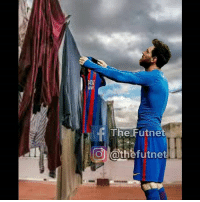 Laundry, Memes, and Soccer: f The Futnet  Cathefutnet Messi doing laundry - Messi working at a soccer store 😂