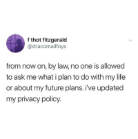 Future, Life, and Memes: f thot fitzgerald  @dracomallfoys  from now on, by law, no one is allowed  to ask me what i plan to do with my life  or about my future plans. i've updated  my privacy policy sorry aunt carol, it's the law!!!! (@dracomallfoys on Twitter)