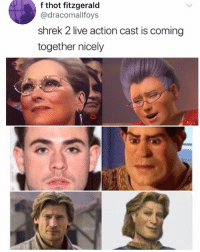 Memes, Shrek, and Thot: f thot fitzgerald  @dracomallfoys  shrek 2 live action cast is coming  together nicely 🤣Nailed it
