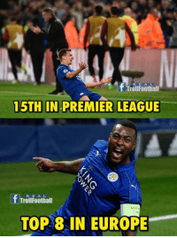 Memes, 🤖, and Top: f Troll E A L  Football  R 15TH IN PREMIER LEAGUE  R E A L  Troll Football  TOP 8 IN EUROPE Fairytales continue
