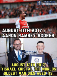 Memes, Aaron Ramsey, and 🤖: f Trolufoothiall  Fty  Emra  AUGUST 11TH 2017  AARON RAMSEY SCORES  E A  AUGUST 12TH 2017  YISRAEL KRISTAL THE WORLDS  OLDEST MANIDIES AGED 113. The Curse Continues