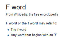 <p>Thanks for Clearing That Up</p>: F word  From Wikipedia, the free encyclopedia  F word or the f word may refer to:  The f word  Any word that begins with an P <p>Thanks for Clearing That Up</p>