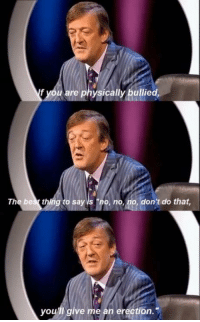 "Stephen Fry via /r/memes https://ift.tt/2DjesjM: f you are physically bullied,  The bes thing to say is ""no, no, no, don't do that  you'll give me an erection. Stephen Fry via /r/memes https://ift.tt/2DjesjM"