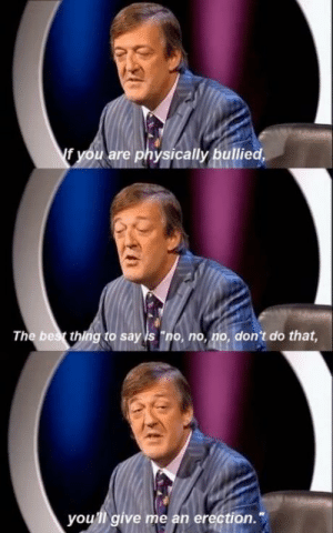 """Stephen Fry by Lord_GG MORE MEMES: f you are physically bullied,  The bes thing to say is """"no, no, no, don't do that  you'll give me an erection. Stephen Fry by Lord_GG MORE MEMES"""