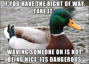 Advice, Tumblr, and Animal: F YOU HAVE THE RIGHT OF WAY  TAKE IT  WAVING SOMEONE ON IS NOT  BEING NICE, ITS DANGEROUS advice-animal:  It causes confusion for all. Learn the rules of the road and adhere to them